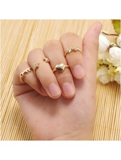 Heart Shaped and Key Midi Ring Set