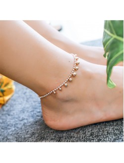 Diamond Drop Metal Ball Rose Gold Anklet