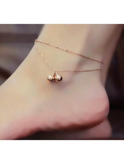Double Layered Bell Rose Gold Anklets