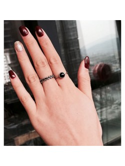 Black Onyx 2 Piece Ring Set