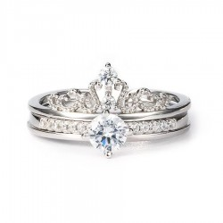 2 in 1 Rings Set (Crown Ring + Diamond Ring)