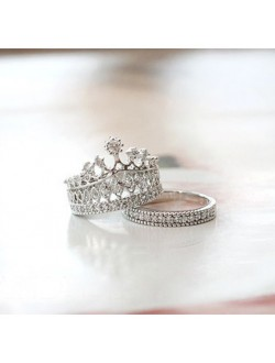 2 in 1 Crown Ring Set