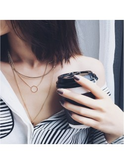 Curved Bar Circle Stud Triple Layered Necklace