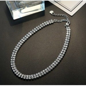 Double Row / Triple Row Strand Rhinestone Choker Necklace