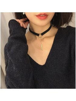 Circle Drop Bar Choker Necklace