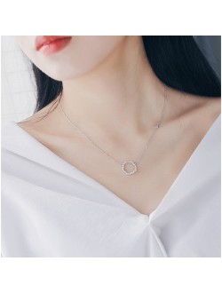 Hollow Circle Diamond Necklace