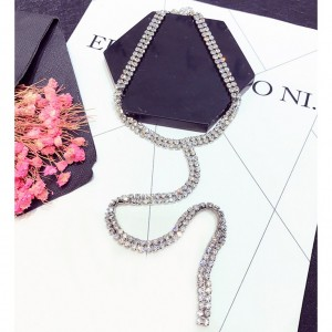T-Shaped Strand Rhinestone Choker Necklace