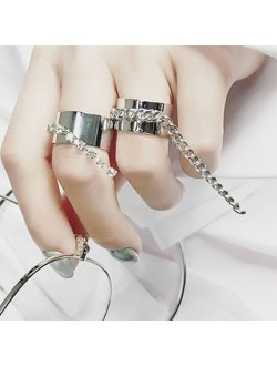 Drop Rhinestone Ring / Drop Chain Ring