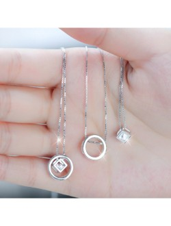 Circle and Square Box Diamond Multiway Wearing Necklace