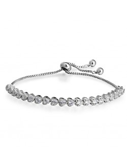 Heart Shaped Diamond Drop Metal Ball Bracelet
