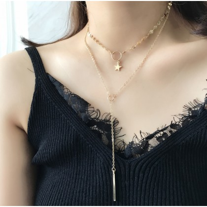 Circle Drop Star Gold Sequins & Y-Shaped Bar Necklace