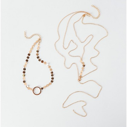Circle Gold Sequins & Double Layer Y-Shaped Necklace Set