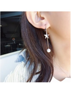 Double Star and Pearl Rose Gold Earrings