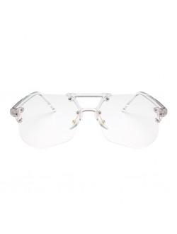 Oversized Irregular Rimless Clear Frame Transparent Glasses