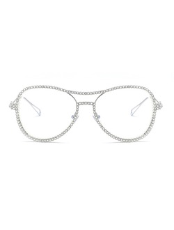 Glamorous Diamond Aviator Shaped Glasses