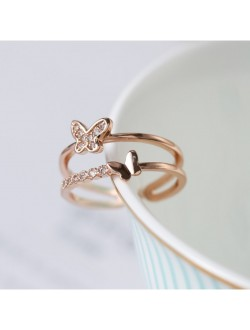 Double Butterfly with Diamond Adjustable Rose Gold Ring