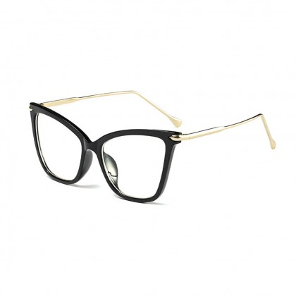 Fearless Square Shaped Cat Eye Black Frame / Clear Frame Transparent Glasses