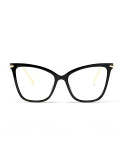 Large Frame Fearless Square Shaped Cat Eye Black Frame / Clear Frame Transparent Glasses