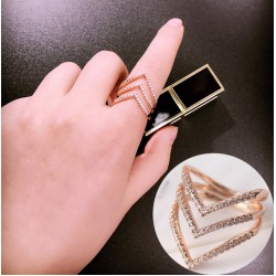 Triple V Diamond Rose Gold Ring