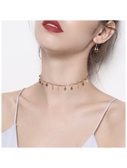 Dainty Drop Star Choker Necklace