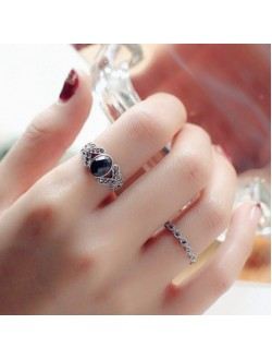 Black Crystal 2 Pieces Ring Set