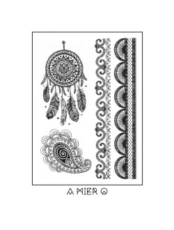 Black Ink Henna Temporary Tattoo - No.30