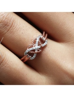 Infinity Love Anchor Heart Shaped Rose Gold & Silver Ring