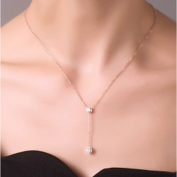 Y-Shaped Double Diamond Rose Gold Necklace