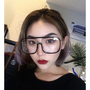 Lunet Oversized Black Frame / Clear Frame Square Shaped Unisex Transparent Glasses