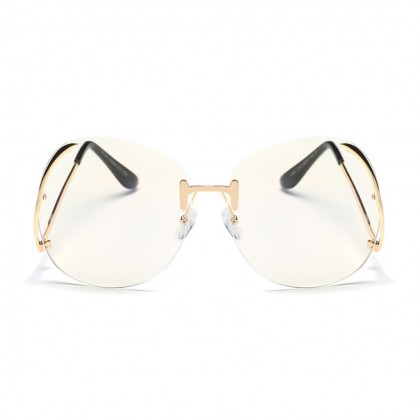 Oversized Rimless Curved Legs Glasses