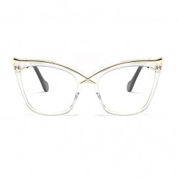 Crossover Square Shaped Cat Eye Clear Frame Glasses