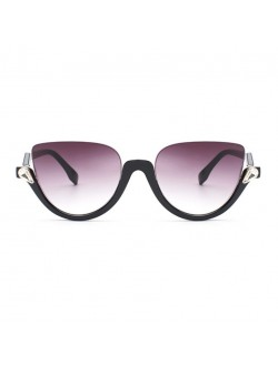 Blink Havana Semi-Rimless Half Frame Cat Eye Sunglasses