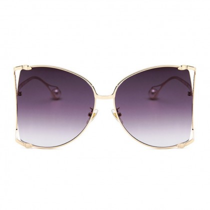 Oversized Side Hollow Cut Out Frame Butterfly Shaped Pearl Leg Sunglasses