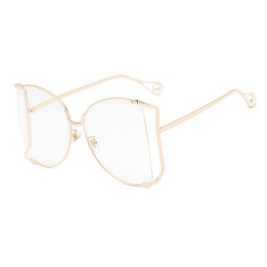 Oversized Side Hollow Cut Out Frame Butterfly Shaped Pearl Leg Glasses