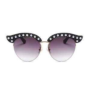 Cat Eye with Pearls Rimless Sunglasses