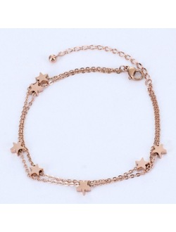 7 Lucky Star Double Layered Rose Gold Anklets