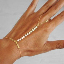 Sequins Chain Linked Ring and Bracelet