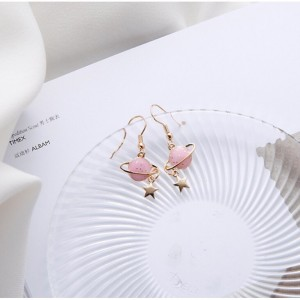 Pink Universe Star Planet Earrings