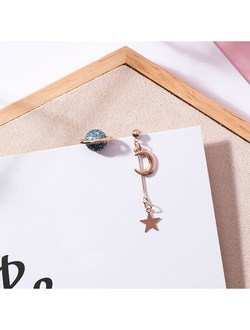 Asymmetric Universe Planet & Moon Star Earrings