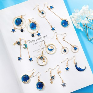 Drop Circle Planet & Star Earrings