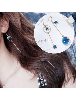 Asymmetric Universe Space Drop Moon & Star Planet Earrings
