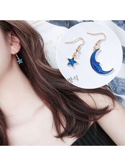 Asymmetric Moon & Star Planet Earrings