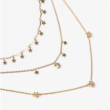 Triple Layered Moon Star Necklace Set
