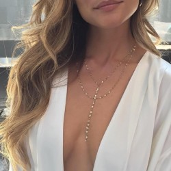 Delicate Shining Sequins Y Style Double Layered Necklace