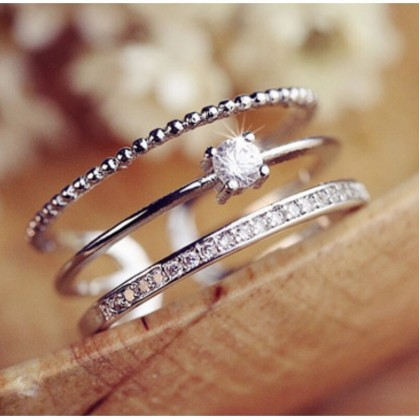 Triple Layered Diamond Ring