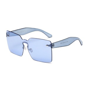 Futuristic Rimless One Piece Square Shaped Sunglasses