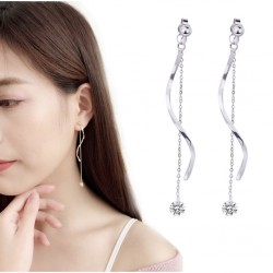 Long Twisted Bar Back Drop Crystal Earrings