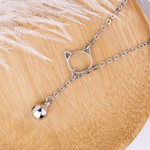 Little Kitty Cat Drop Bell Necklace
