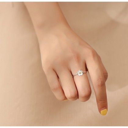 White Sakura Flower Ring