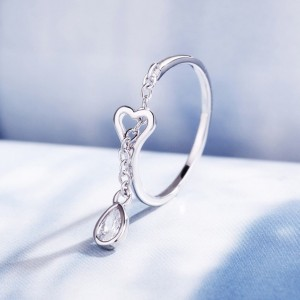 Heart Shaped Drop Diamond Ring